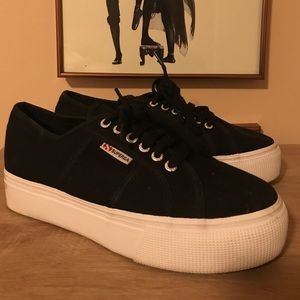 Black and White Platform Superga Sneakers